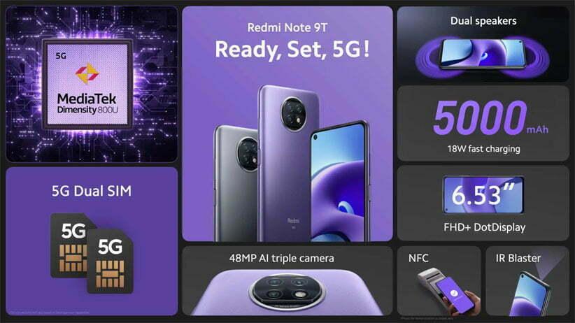 قیمت خرید گوشی Redmi Note 9T 5G